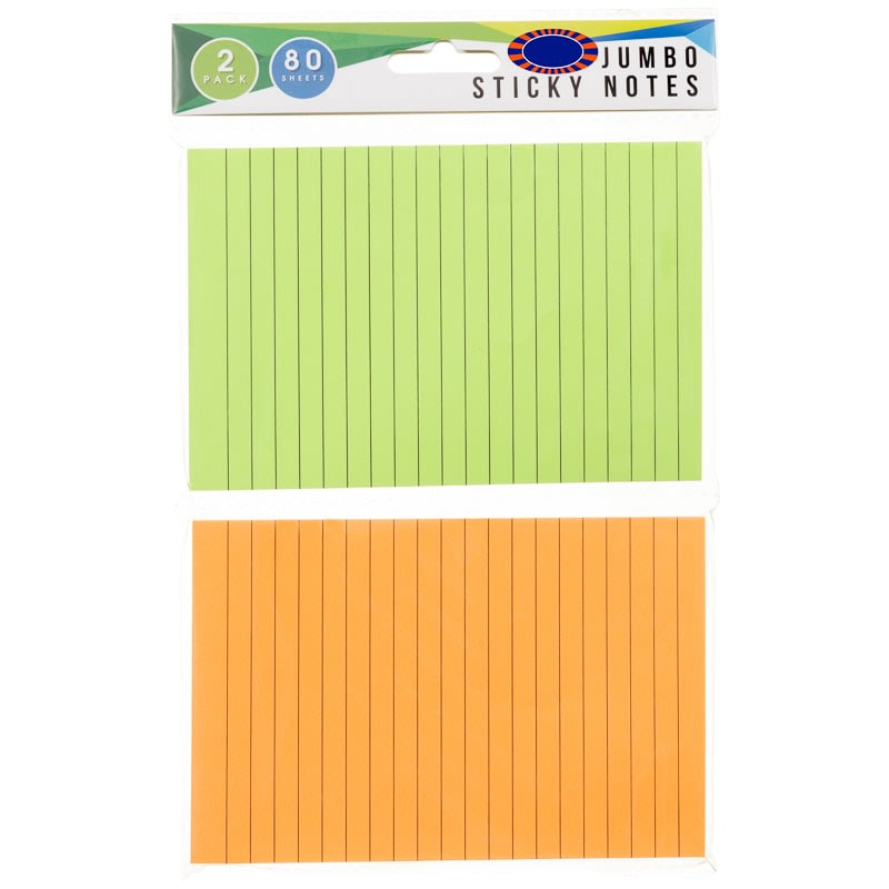 Jumbo Lined Sticky Notes 2pk Stationery Home  Office - BM - stickey notes
