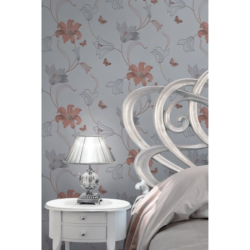 Black And Silver Floral Wallpaper Amelia Floral Wallpaper Rose Gold Wallpaper B Amp M