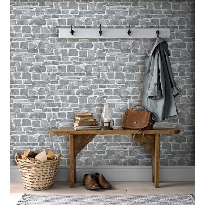 3d Grey Brick Effect Wallpaper Broken Brick Wallpaper Grey Wallpaper B Amp M