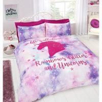 Rainbow Unicorn Double Duvet Set
