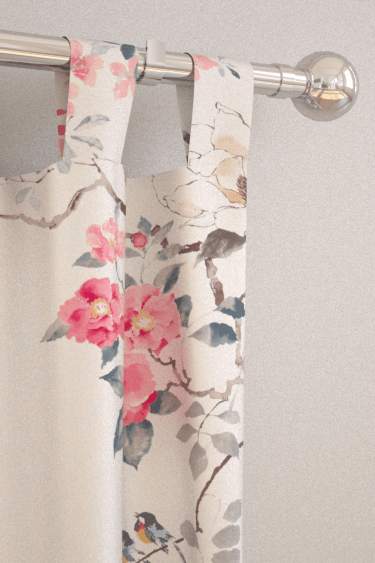 Sanderson Wisteria Falls Wallpaper Magnolia And Blossom Coral Silver Tab Top Curtains By