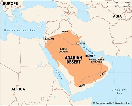 Arabian Desert Facts, Location, Plants, Animals,  Map