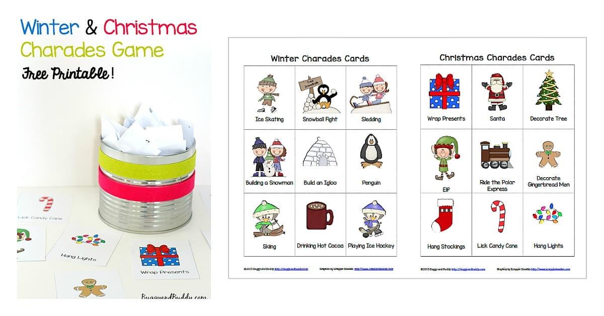 Winter and Christmas Charades Free Printable Game for Kids - Buggy