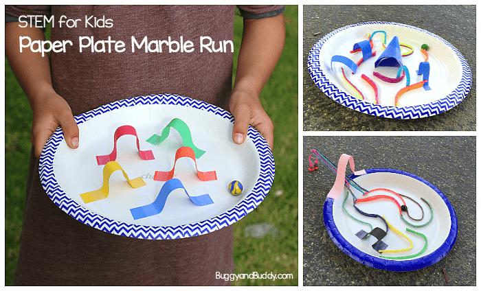 Stem Challenge For Kids Design A Paper Plate Marble Maze