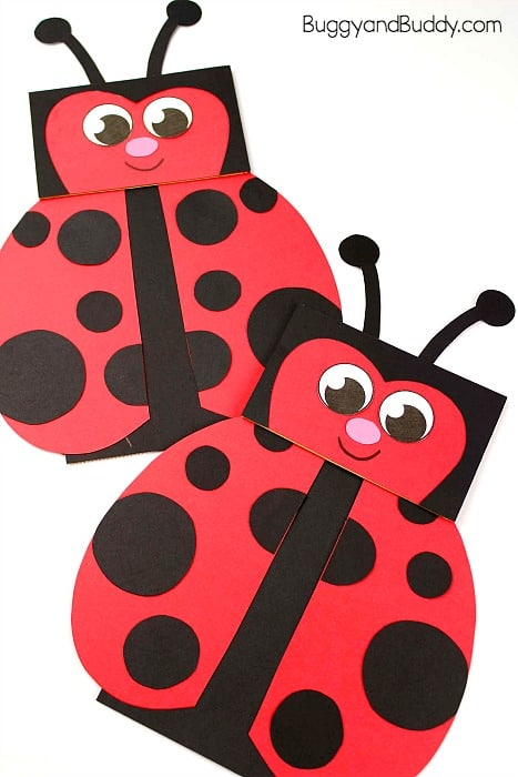 Paper Bag Puppet Ladybug Craft for Kids - Buggy and Buddy