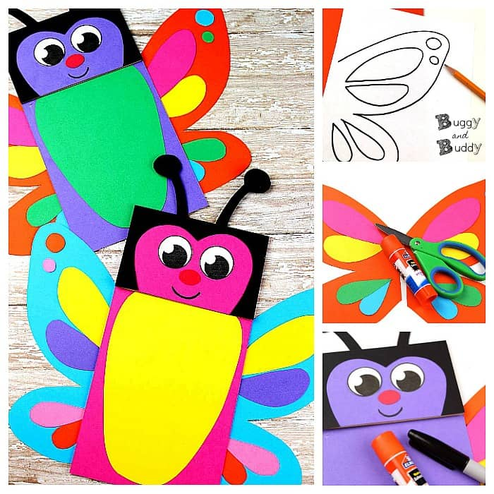Butterfly Paper Bag Puppets with Free Template - Buggy and Buddy
