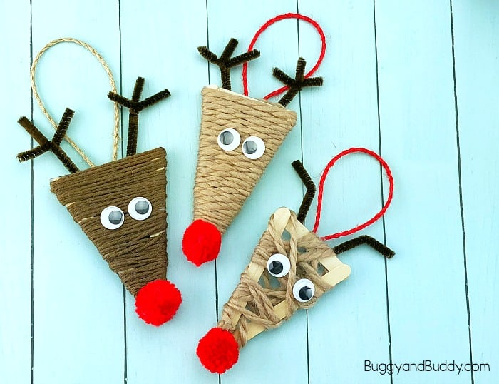 Yarn Wrapped Craft Stick Reindeer Ornament Craft for Kids - Buggy