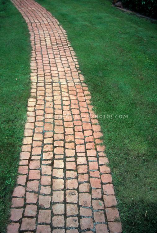 Brick Pathway Through Lawn Grass   Plant & Flower Stock