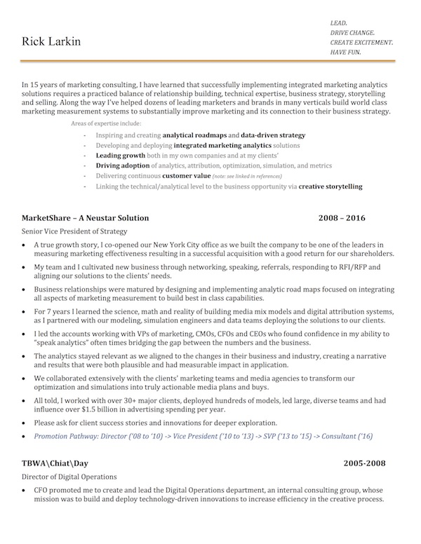 The most memorable martech resume I\u0027ve seen - Chief Marketing - chief learning officer sample resume