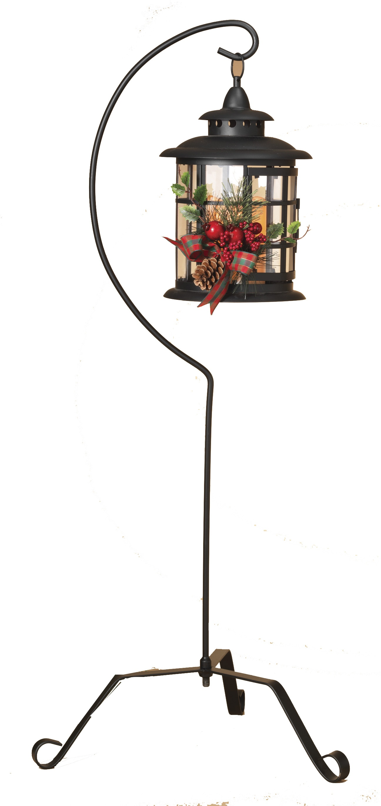"Decorative String Lights Black Metal Lantern With 37"" Stand And Led Candle"