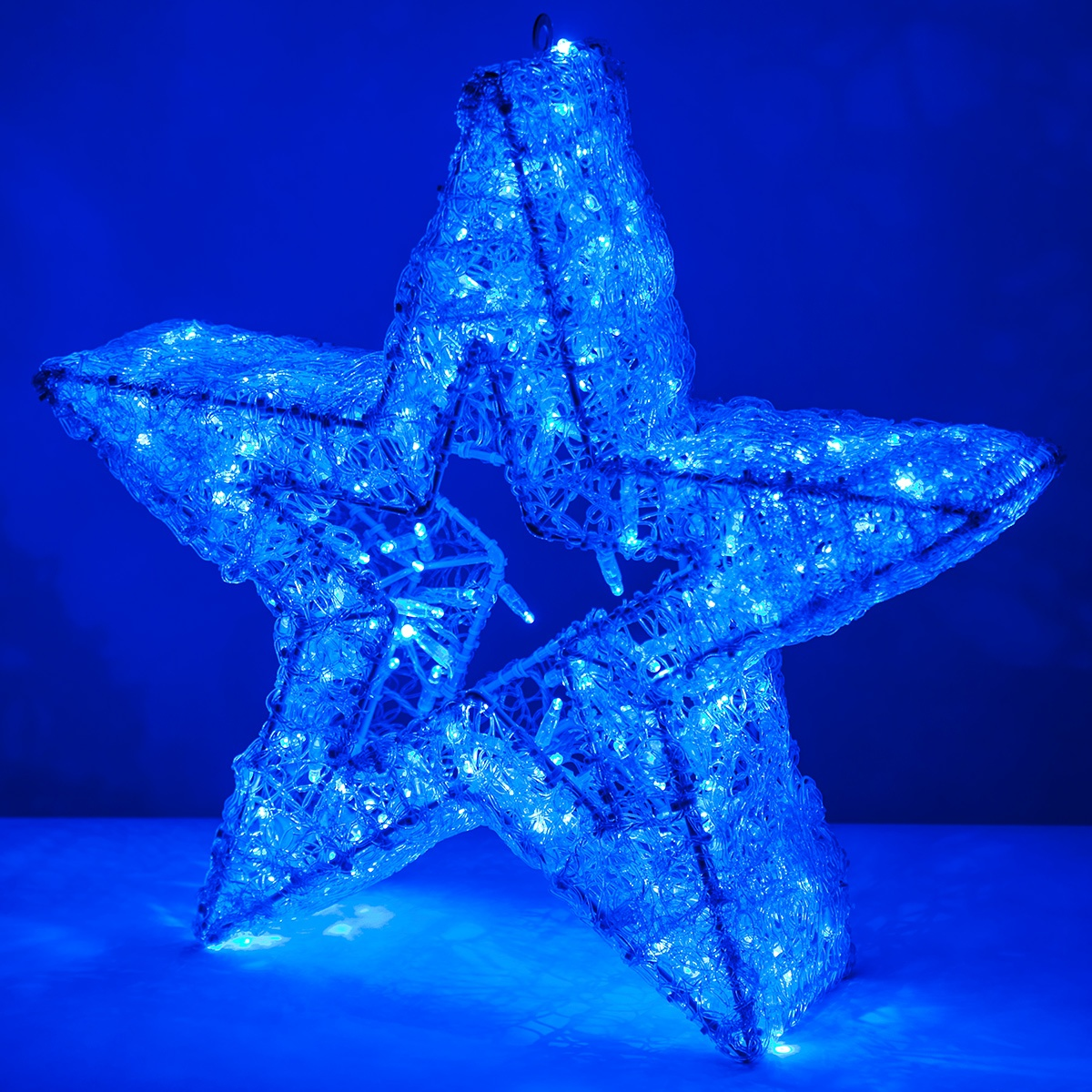 "Led Store 24 Snowflakes & Stars - 24"" Blue Led Five Point Dimensional Star"
