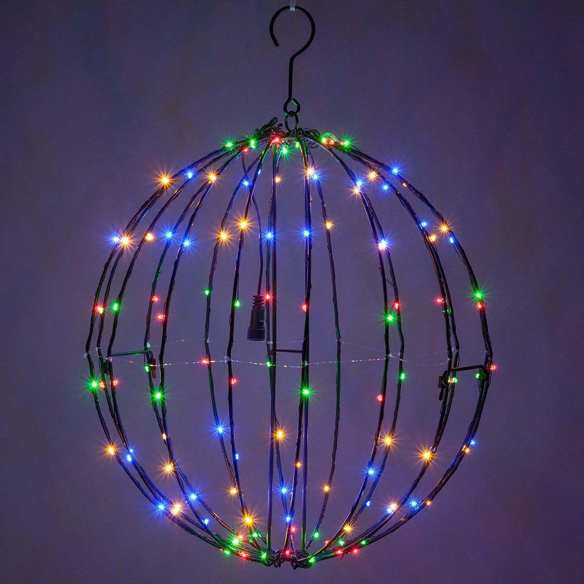 Outdoor String Lights For Trees Multicolor Led Fairy Christmas Light Ball, Fold Flat Black