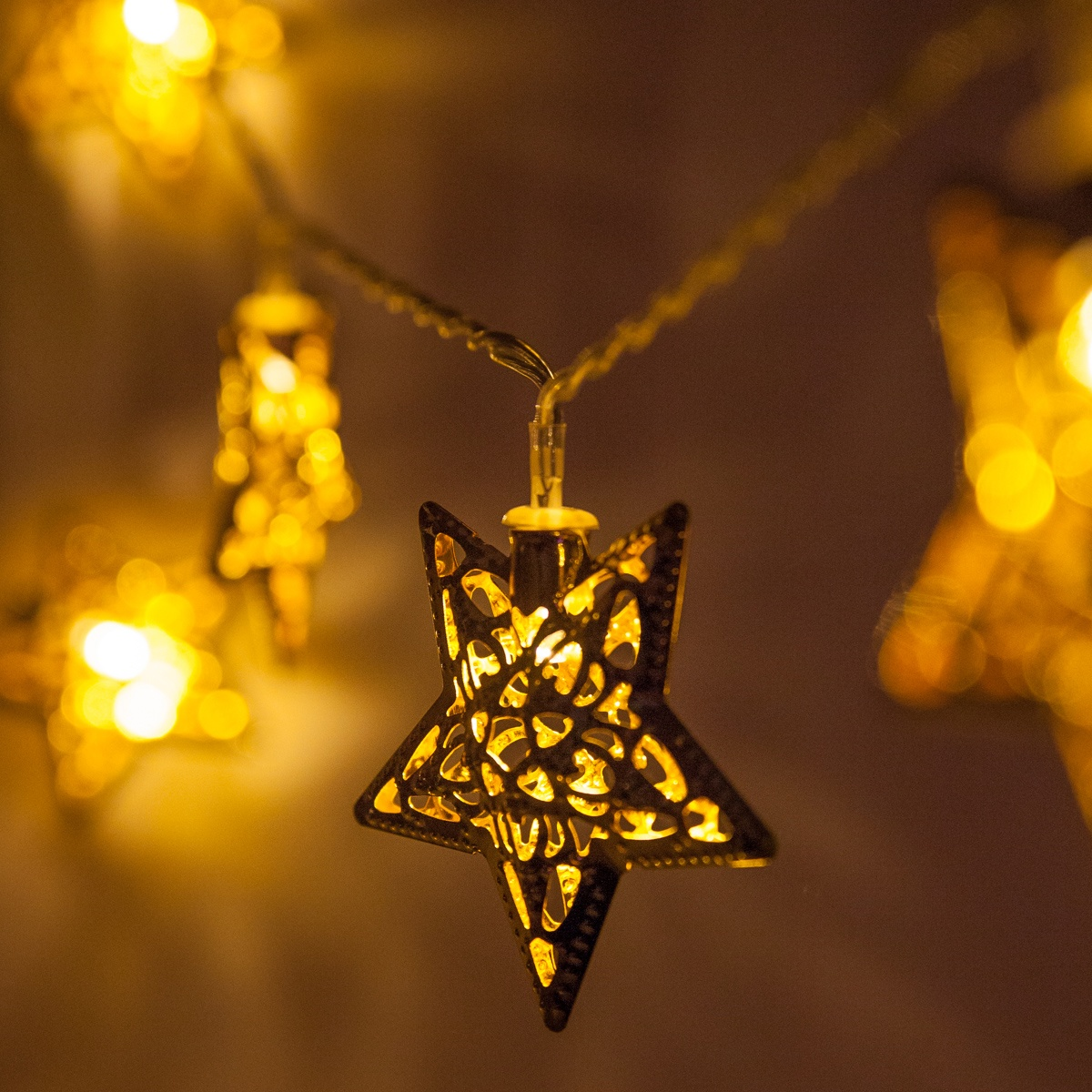 Christmas Star Lights Novelty Lights Battery Operated Led Golden Metal Star