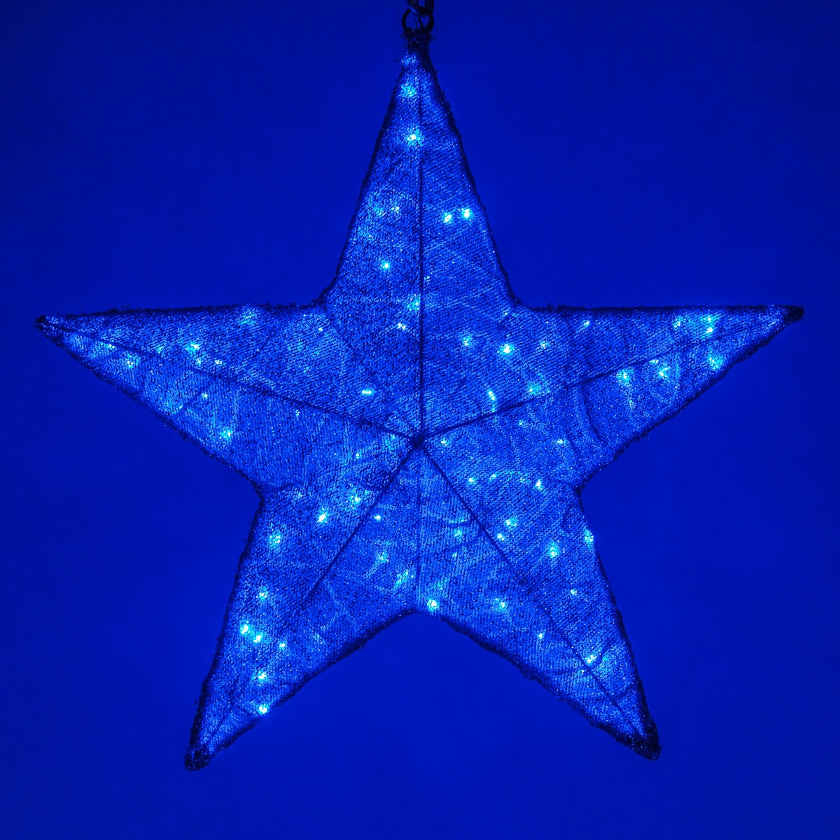 Christmas Star Lights Snowflakes And Stars 36 Quot Blue Metallic Mesh Star Light