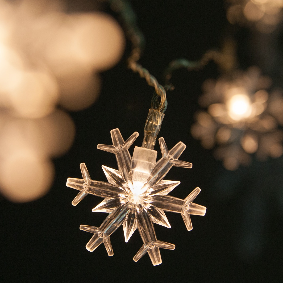 Outdoor String Lights For Trees Battery Operated Lights - Battery Operated Snowflake