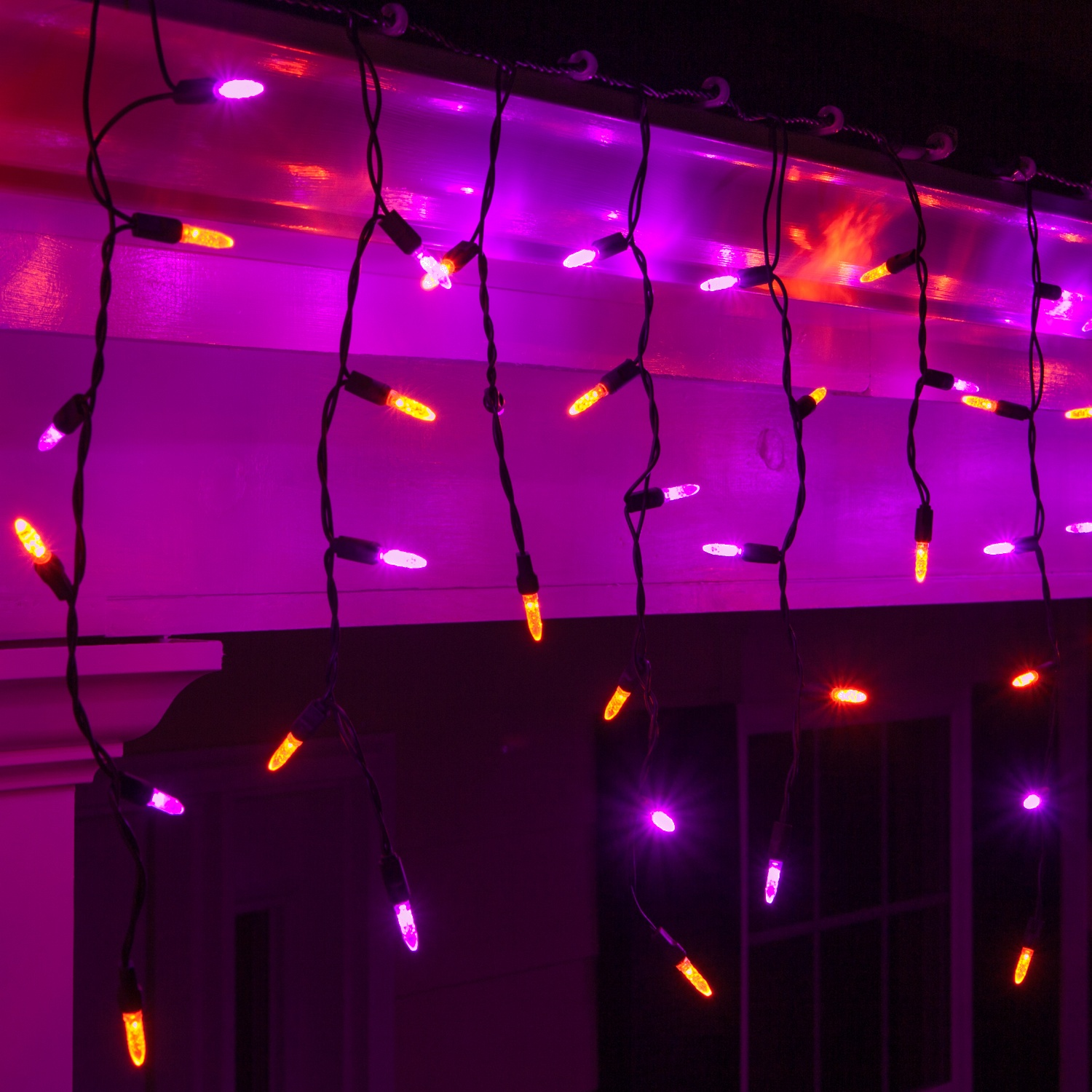 Led Halloween Lights 70 M5 Purple Orange Halloween Led Icicle Lights Black Wire