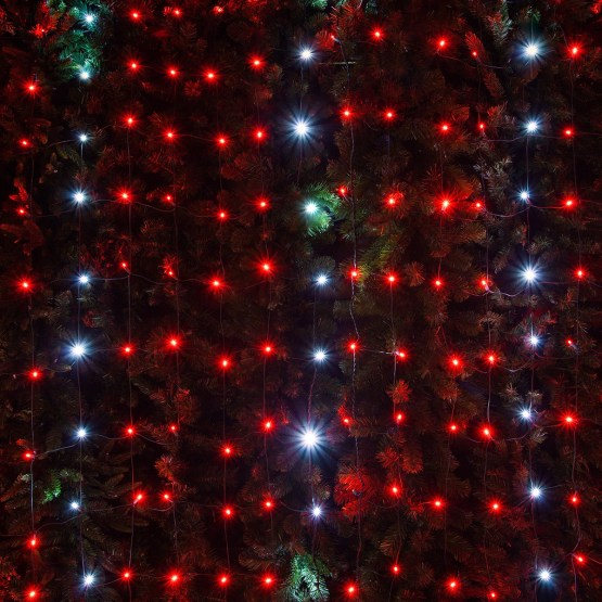 Outdoor String Lights For Trees Led Net Lights - 5mm 4' X 6' Red, Cool White Twinkle Led