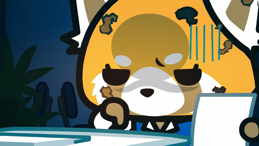 Cute Cartoon Sushi Wallpaper Aggretsuko Hello Kitty S Beer Swilling Heavy Metal
