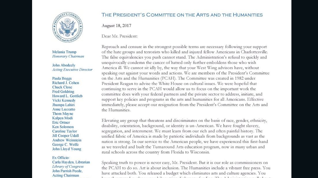 There\u0027s a hidden message in the WH arts committee\u0027s letter - CNN