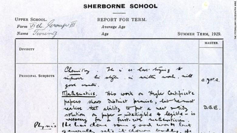Code-breaker Alan Turing told off in school report cards - CNN - report card