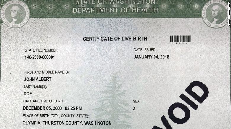 Washington state offers three gender options for birth certificates - birth certificate