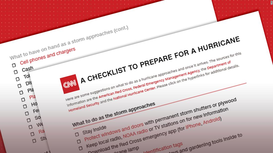 Hurricane checklist What to do -- and pack -- when a storm is