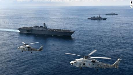The Japanese helicopter destroyer JS Kaga participated with a British frigate in exercises in the Indian Ocean in September.