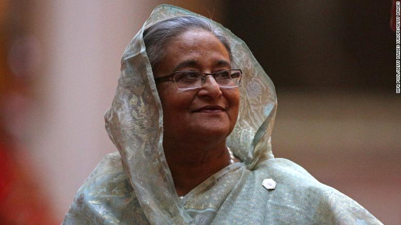 Prime Minister Sheikh Hasina seen arriving at a Commonwealth Heads of Government Meeting (CHOGM) at Buckingham Palace on April 19, 2018 in London, England.