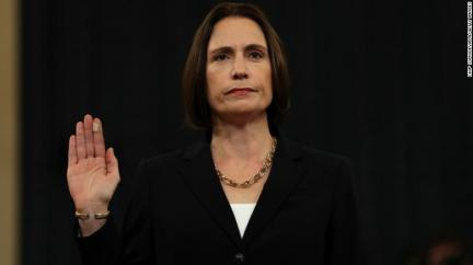 Fiona Hill, the National Security Council's former senior director for Europe and Russia, is sworn in to testify before the House Intelligence Committee in the Longworth House Office Building on Thursday in Washington.