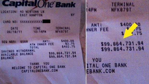 $100 million ATM Receipt