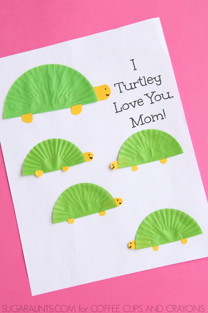 Turtle Themed Mother\u0027s Day Card Coffee Cups and Crayons - Mother S Day Cards