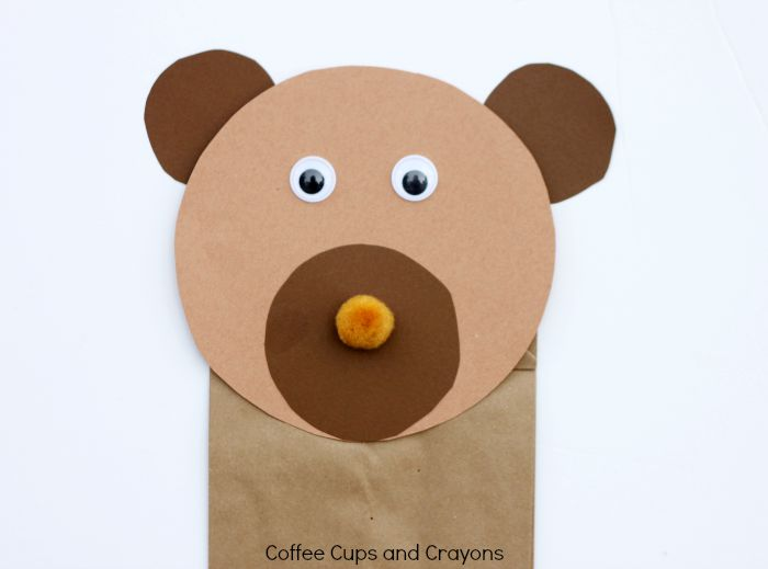 Brown Bear Puppet Craft Coffee Cups and Crayons