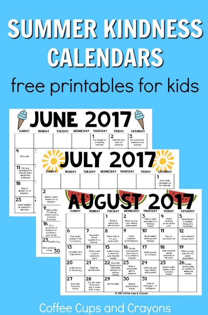 Summer Kindness Calendars for Kids Coffee Cups and Crayons