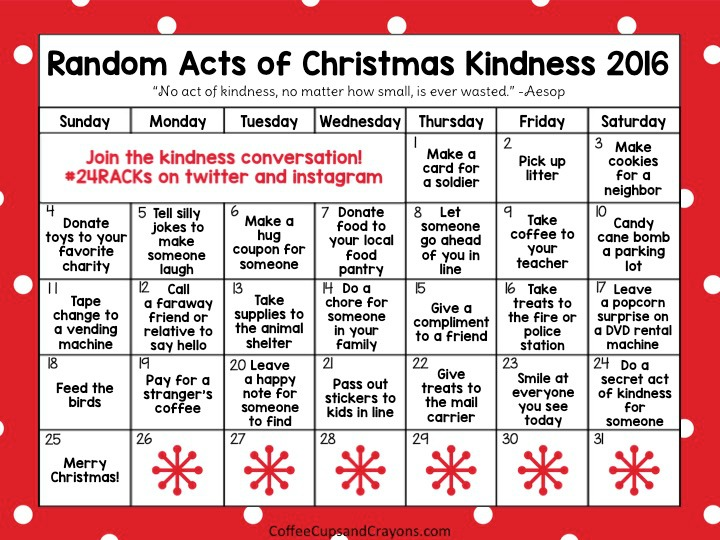 Random Acts of Christmas Kindness Advent Calendar Coffee Cups and
