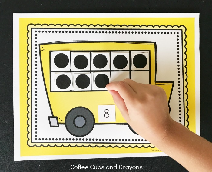 Printable School Bus Ten Frame Activity Coffee Cups and Crayons