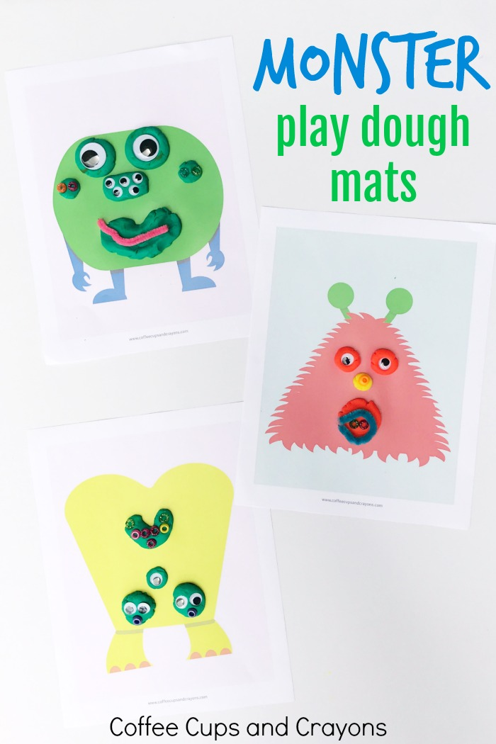 Printable Monster Play Dough Mats Coffee Cups and Crayons