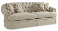 Collection One Upholstered Oxford Tufted Skirted Sofa