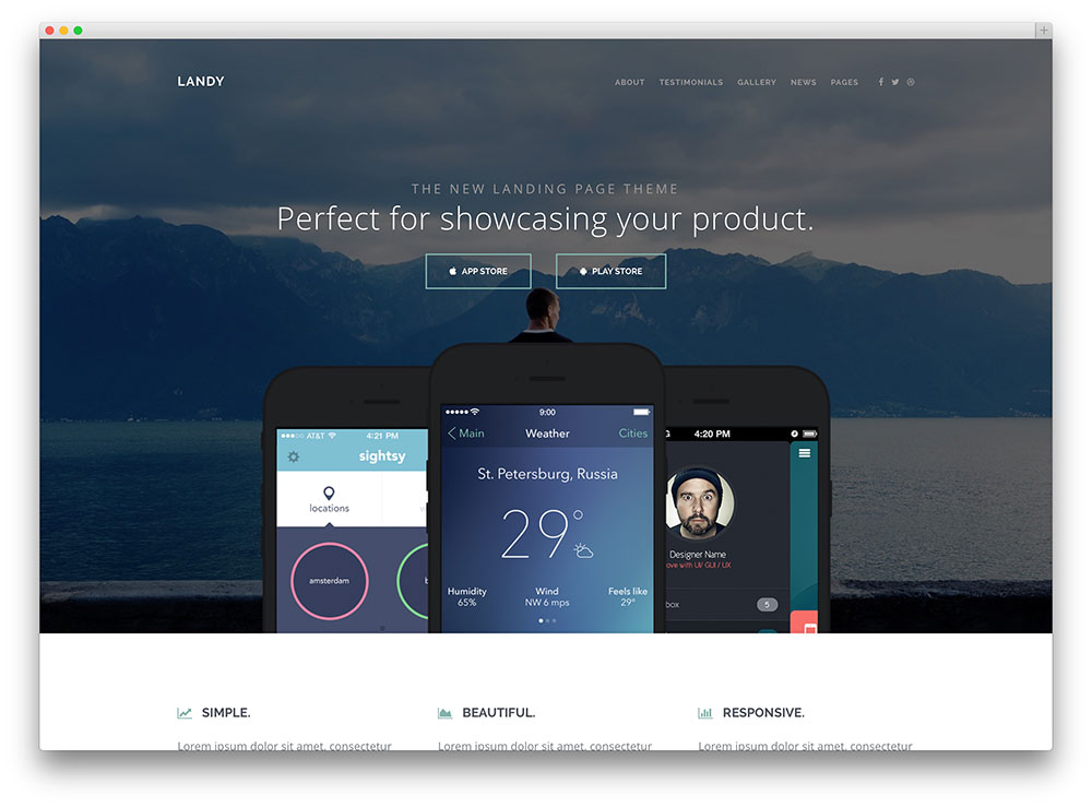33 Best App  Software Showcase WordPress Themes 2018 - Colorlib - app landing page template