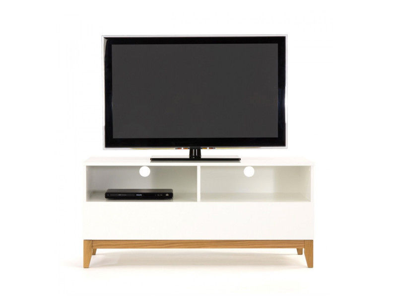Meuble Tv Scandinave Couleur Meuble Tv Design Scandinave Blanco Wide - Couleur - Blanc