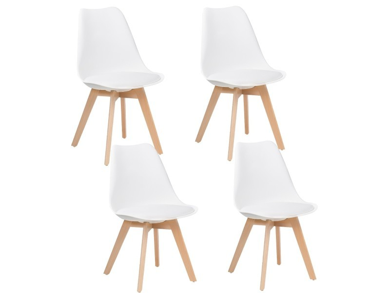 Lot De Chaises Scandinaves Lot De 4 Chaises Design Scandinave Blanc - Skagen - Conforama