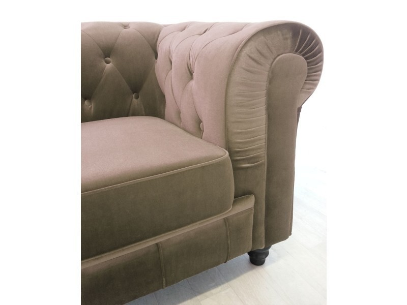 Canapé Chesterfield Intensedeco Canape Chesterfield Velours 3 Places Altesse Taupe - Vente De Canapé Droit - Conforama
