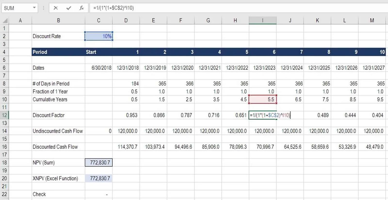 how to calculate discount factor for npv