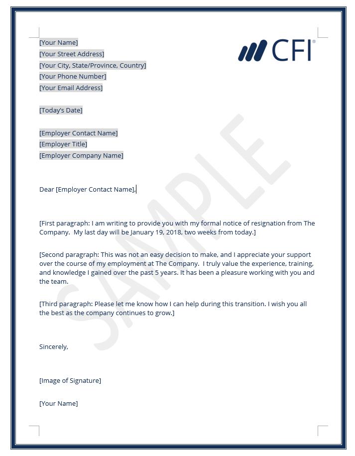 employment resignation letter template