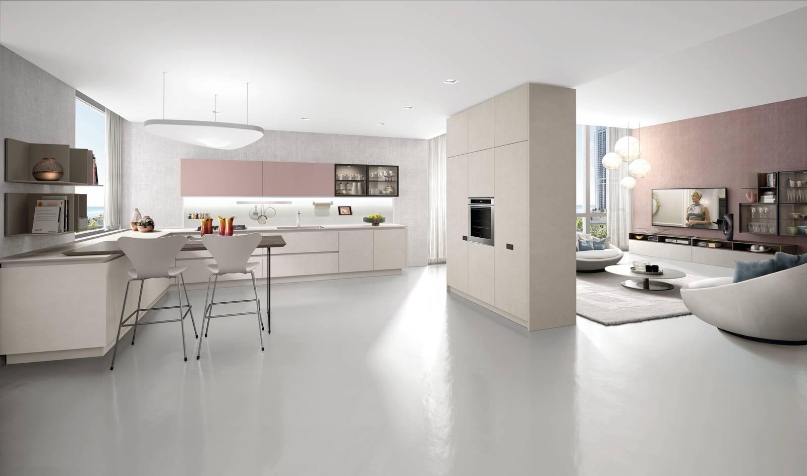 Cucina Soggiorno A Elle | Cucine Open Space Moderne Roma, Cucina ...