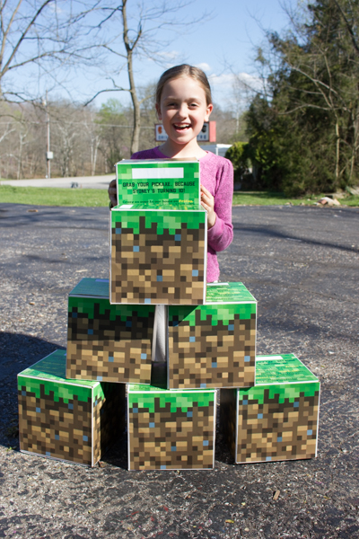 Make a Giant Upcycled Cardboard Minecraft Grass Block Party
