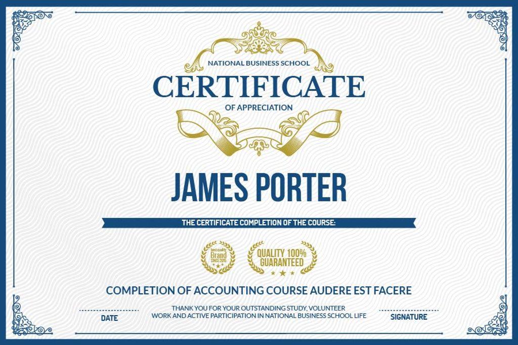 Certificate of appreciation template Gift certificate 6x4in template