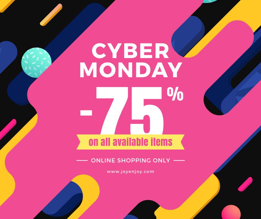 Cyber monday sale poster Facebook post 940x788px template \u2014 Design