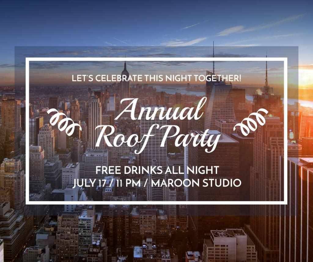 Roof party invitation Facebook post 940x788px template \u2014 Design