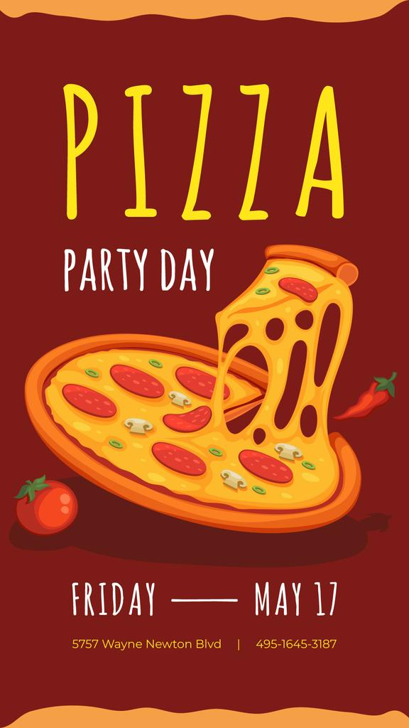 Poster Cuisine Pizza Party Day Poster Instagram Story 1080x1920px Template