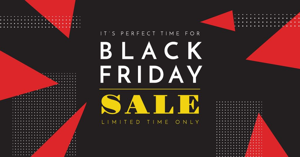 black Friday sale poster Facebook Ad 1200x628px template \u2014 Design